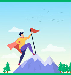 super person on mountain peak success motivation vector image