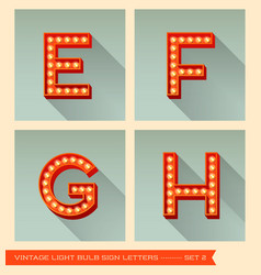 Vintage light bulb sign letters e f g h vector image