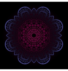Violet mandala on dark background vector image