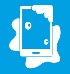 Wet phone icon white vector