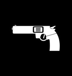 White icon on black background military handgun vector