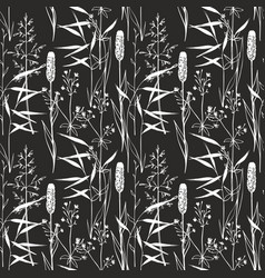 Wildflowers seamless gentle pattern on a black vector