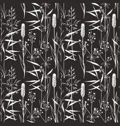 Wildflowers seamless gentle pattern on a black vector