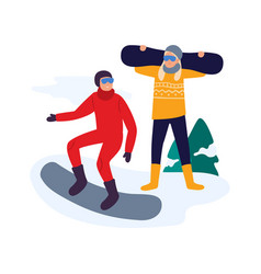 winter activities friends with snowboard having vector image