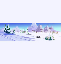 Winter landscape with ski lift chairs in mountains vector