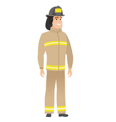 Young caucasian confident firefighter vector