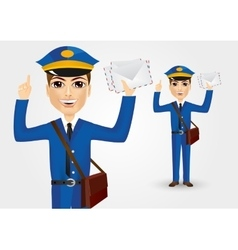 young postman with envelopes vector image