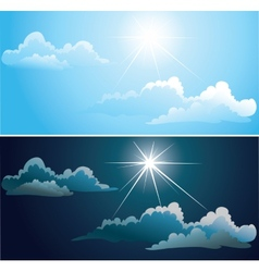 Blue and nightly sky with white clouds vector image