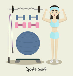 Coach sport with standing position vector
