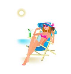 girl sunbathing on beach drinking cocktail vector image