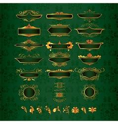 golden ornate decor elements vector image