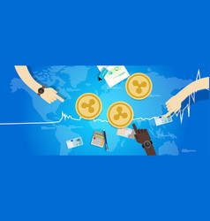 ripple coin increase exchange value digital vector image
