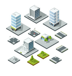set of isometric city landscape design elements vector image vector image