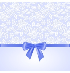 white lace and ribbon bow vector image vector image