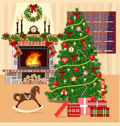 christmas decorated room with xmas tree fireplace vector image vector image