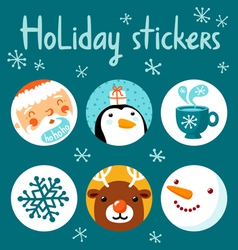 Holiday stickers vector image vector image
