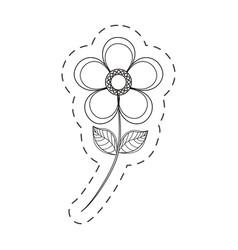 Magnolia flower decoration cut line vector