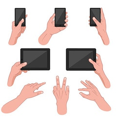 Set of hands using mobile devices vector image