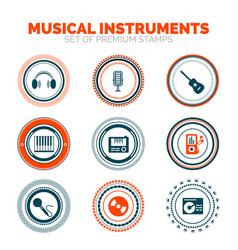 set of musical instruments premium stamps vector image