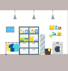 cartoon interior laundry room with furniture vector image vector image