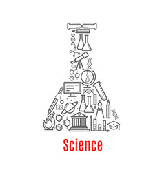 chemical flask with science education icon vector image