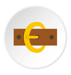 Gold oval buckle icon circle vector