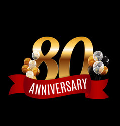 golden 80 years anniversary template with red vector image vector image