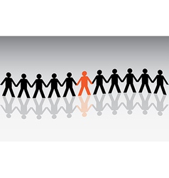 human figures in a waved row vector image vector image