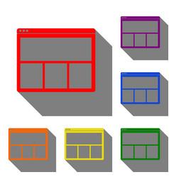 web window sign set of red orange yellow green vector image vector image