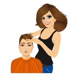 barber working cutting long hair vector image