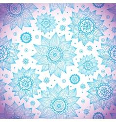 Blue sunflower pattern vector image