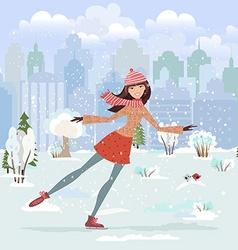 Cute girl skating in city park vector image