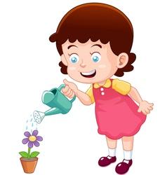 little girl watering flower vector image