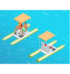 relax on the paddle boat couple on pedalo also vector image vector image