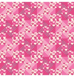 seamless pattern patchwork with hearts vector image vector image