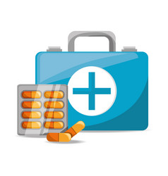 suitcase with pills medical emergency vector image