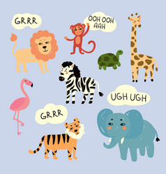 Zoo wild animals making characteristic sounds vector