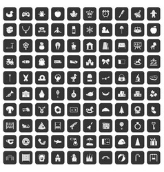 100 nursery school icons set black vector