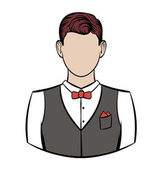 a man in white shirt black waistcoat vector image
