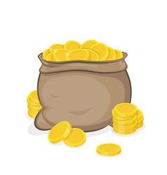 a sack with gold coins and coins vector image