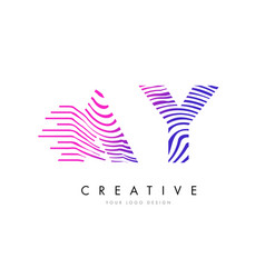 ay a y zebra lines letter logo design with vector image