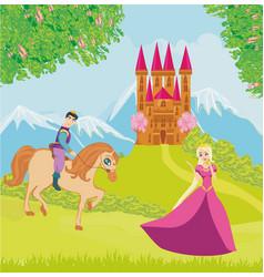 Beautiful prince and princess vector