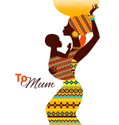 Beautiful silhouette of african mother and baby vector