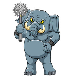 Big elephant with cudgel in standing pose vector
