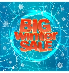 Big winter sale on blue background vector image