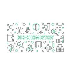 Biochemistry horizontal outline banner or vector