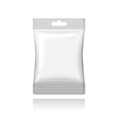 Blank white plastic sachet with hanging hole on vector