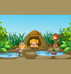 Camping kids in nature vector