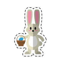 Cartoon easter bunny with basket egg vector