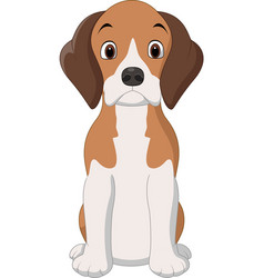 Cartoon happy beagle dog sitting vector